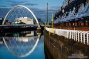 Travel photography:Glasgow Clyde Arc with houses along the river Clyde, United Kingdom
