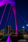 Travel photography:The Glasgow Clyde Arc illuminated at night, United Kingdom