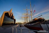 Travel photography:Glasgow Riverside Museum with Tall Ship Glenlee, United Kingdom