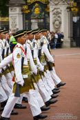 Travel photography:Soldiers marching outside London´s Buckingham palace, United Kingdom, England