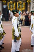 Travel photography:Soldiers parading outside London´s Buckingham palace, United Kingdom, England