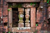 Travel photography:Facade detail of a Champa temple in My Son, Vietnam