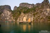 Travel photography:A Junk ship in Halong Bay , Vietnam