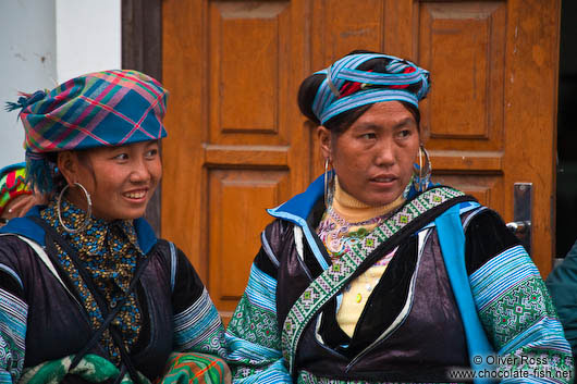 Hmong women at the weekly market in Sapa