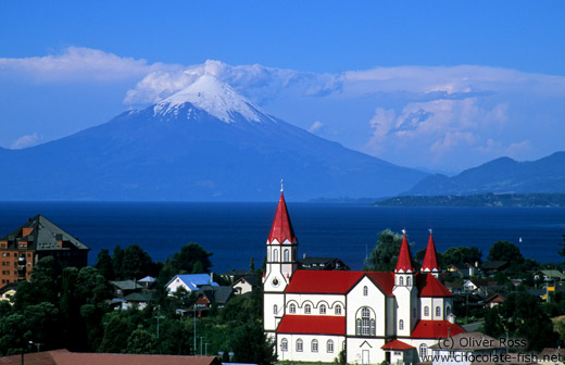 Puerto Varas Church and Volcan Osorno